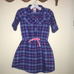 Youngland Dresses - Girls Pink and Blue Checked Dress